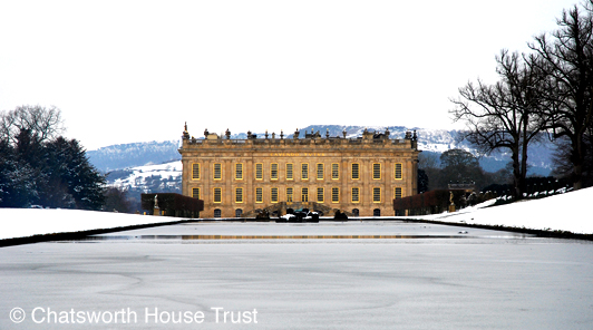 Chatsworth South front in snow
