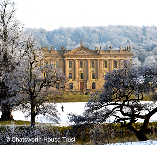 Chatsworth House in snow